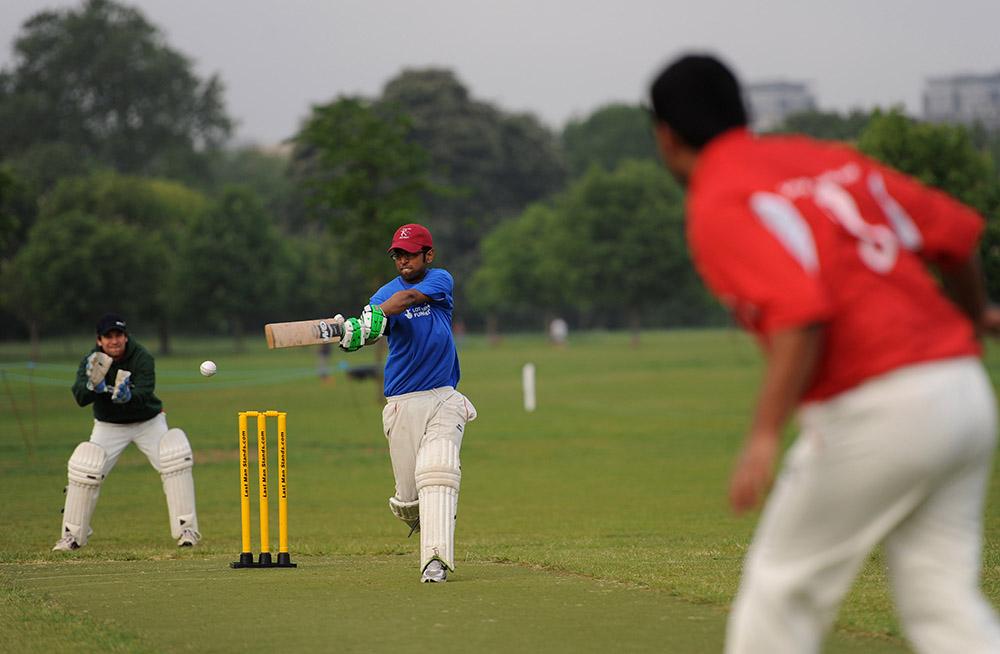 A man batting