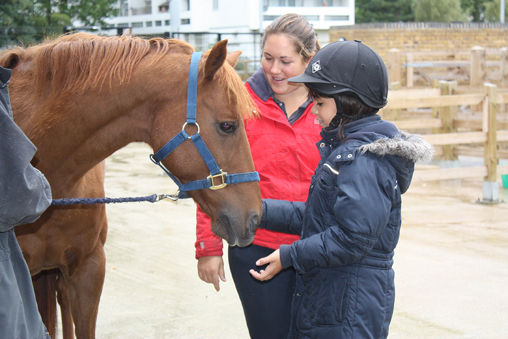 A girl feeding a horse with a riding instructor