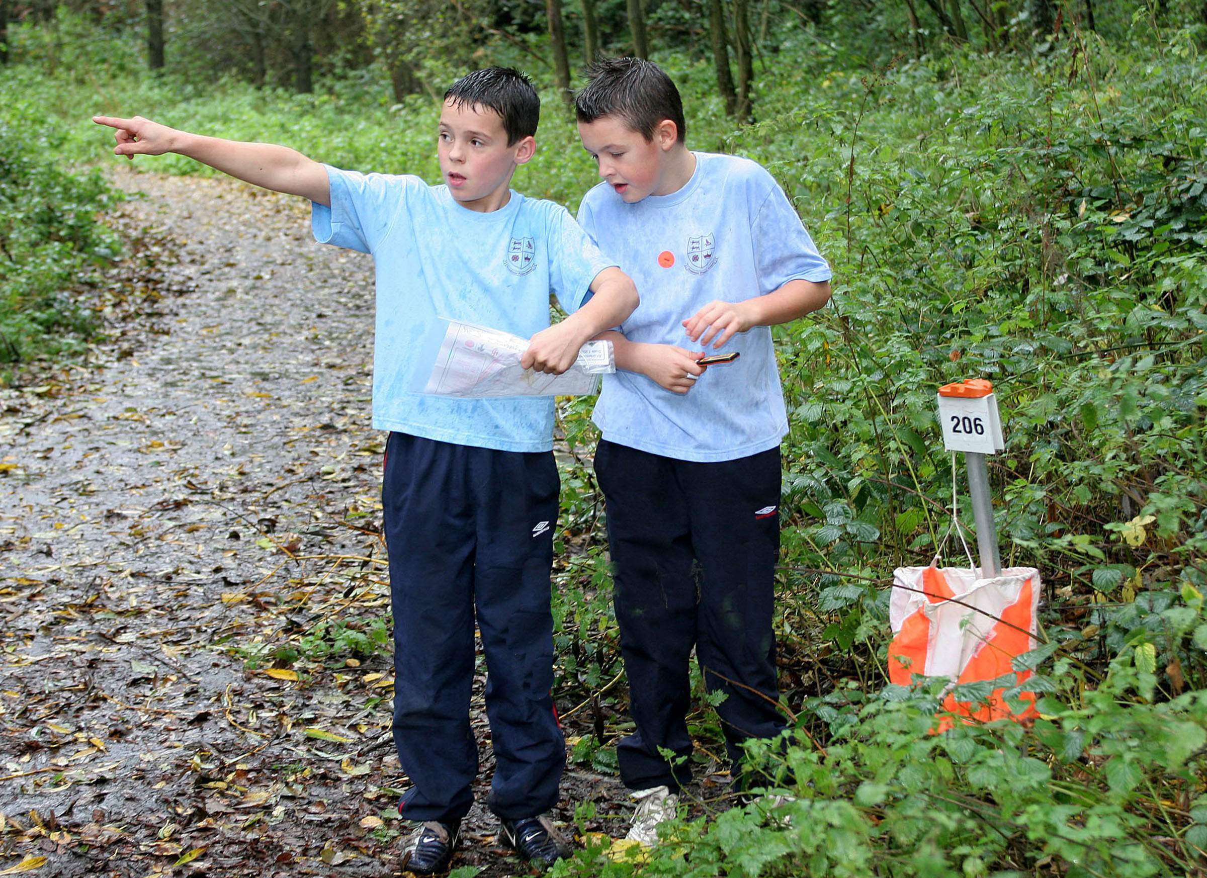 Two boys reading a map