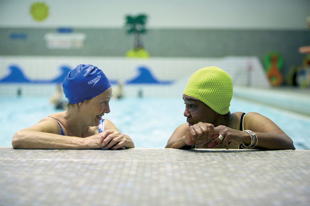 Two ladies in a swimming pool
